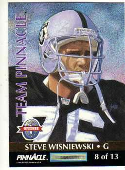 steve wisniewski football cards | ... Steve Wisniewski 1992 Pinnacle Team Pinnacle football Card card back