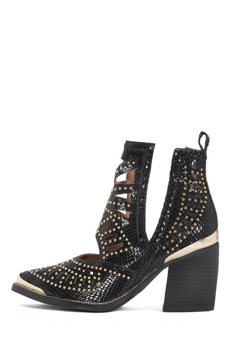 Jeffrey Campbell Shoes MACEO Booties in Black Snake Gold