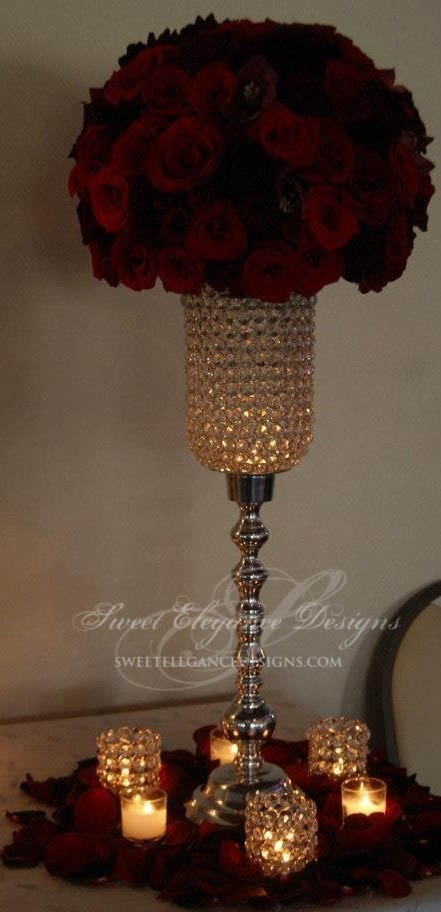 red centerpiece, rose centerpiece, crystal candelabra, crystal centerpiece, candles, romantic centerpiece, wedding design, wedding flowers, vintage romance, crystal votive.