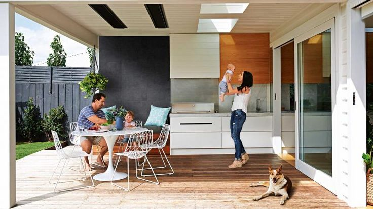 I like the continuation of the kitchen into the BBQ area