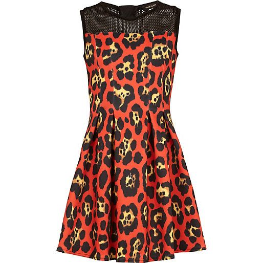 Girls orange leopard print scuba dress