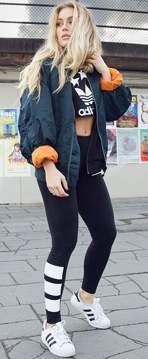 Adidas Joggers And Crop Top Set Fall Sporty Streetstyle Inspo by Angelica Blick