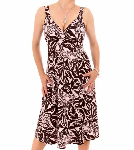 Pastel Pink Leaf Print French Crepe Dress #womensfashion justblue.com