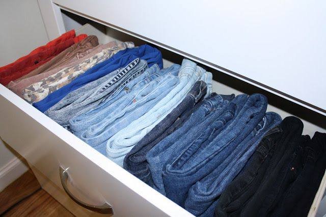 Great way to store jeans in the dresser ~ worked beautifully for me!  So much easier to find the pair you need.