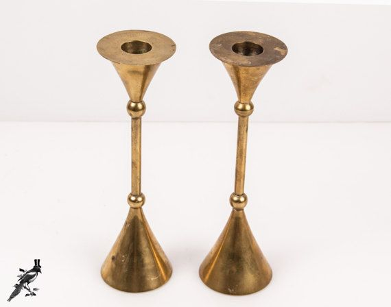 Pair of Mid Century Modern India Brass Candlestick Holders - Century Distinctive Gifts India by TheCordialMagpie from Etsy. Find it now at http://ift.tt/2kh3m4A!