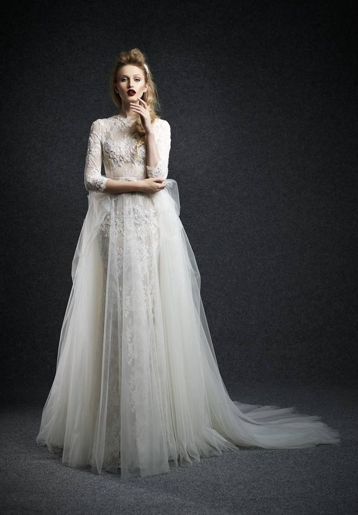 Unique High Neck Lace Three Quarter Length Sleeve Ball Gown Wedding Dress Aes0002