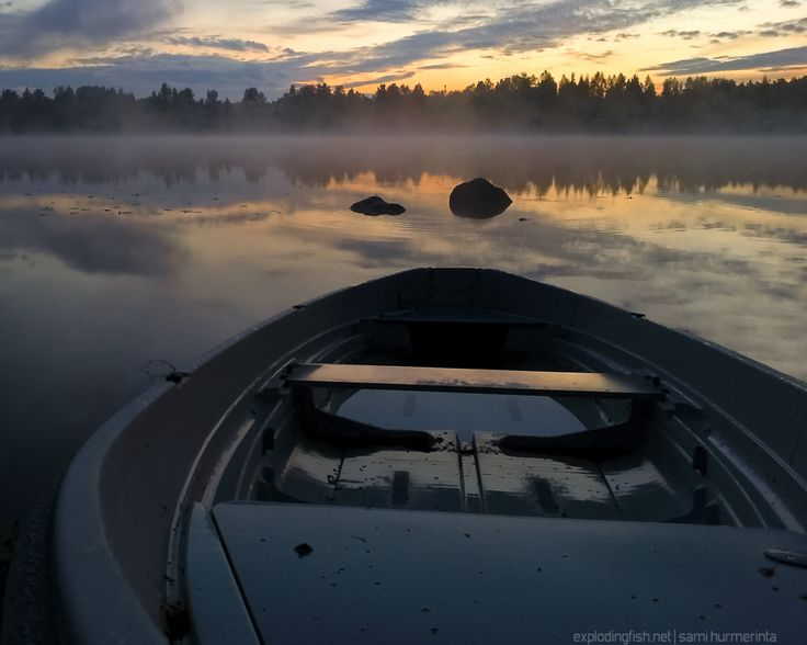 Misty Sunset at Lake Palokkajärvi - Copyright Sami Hurmerinta / Explodingfish.net. All Rights Reserved. #finland #summer #sunset #night #fog