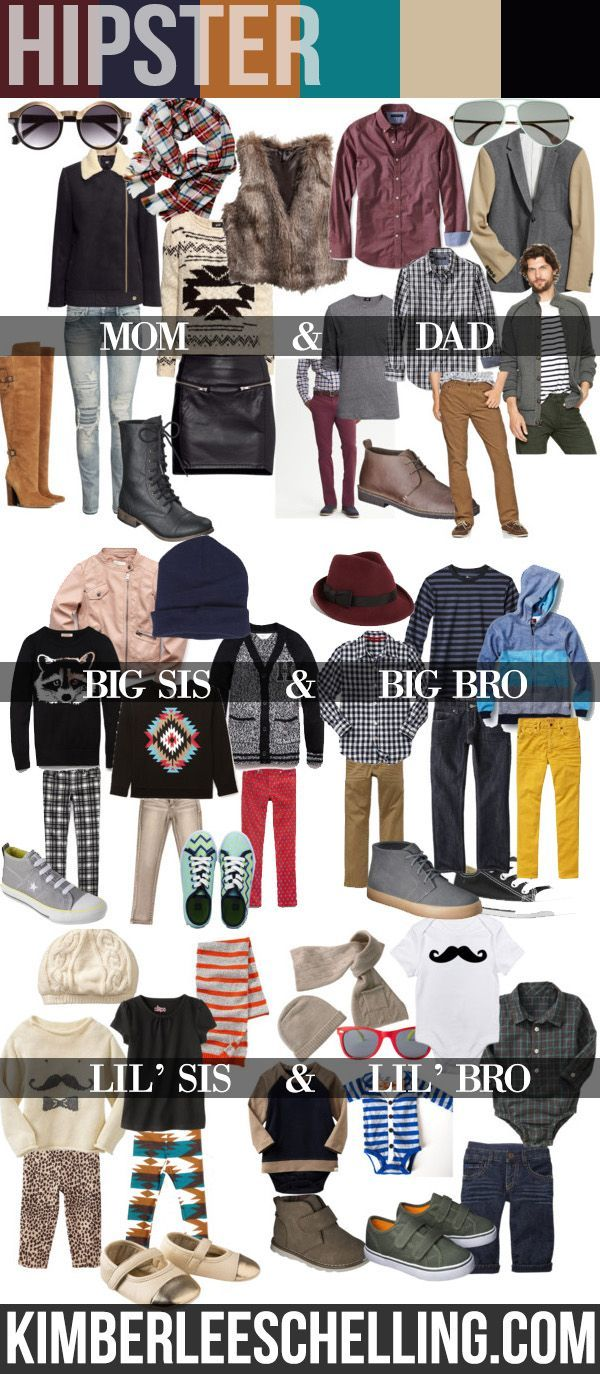 Family photos - what to wear: Fashionable photo shoot style inspiration.