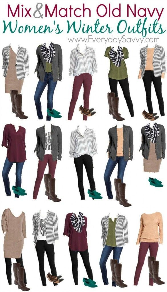 Mix & Match Old Navy Women's Winter Outfits.  15 different outfit ideas and a pop of color with shoes.