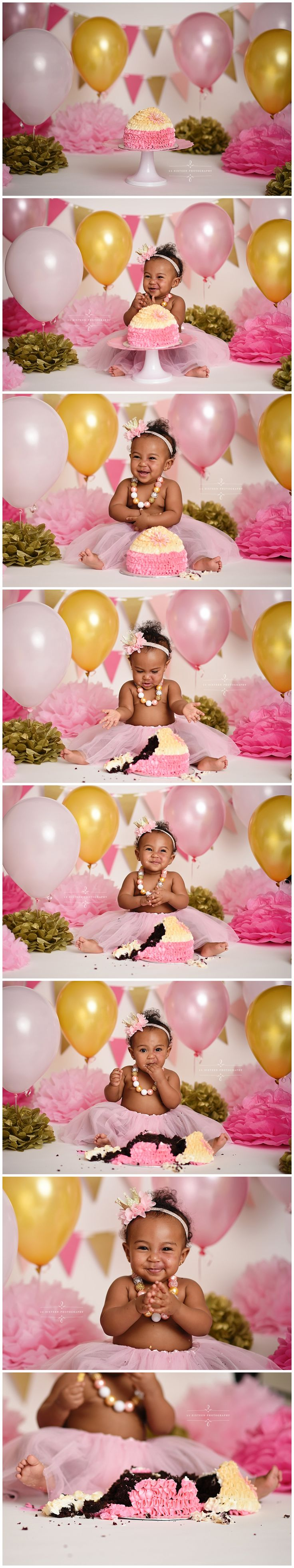 cake smash session, first birthday, one, girl, baby, pink and gold, cake, balloons, studio photography, ideas, inspiration, professional, richmond, glen allen, midlothian, virginia, VA, 11 Sixteen Photography