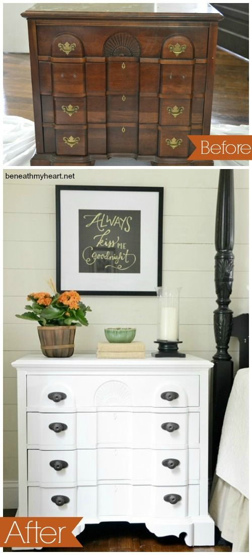 New paint and hardware go a long way with this bedside nightstand makeover.