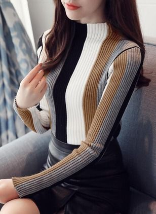 Knitted High Neckline Color Block Tight None Sweaters (1137680)