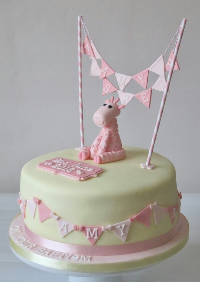 Pink Giraffe Topper With Cake Bunting Baby Shower
