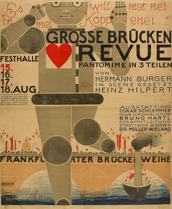 """Oskar Shlemmer """"Poster for the Grosse Brücken Revue"""" (1926) Lithograph. // MoMA   Century of the Child"""