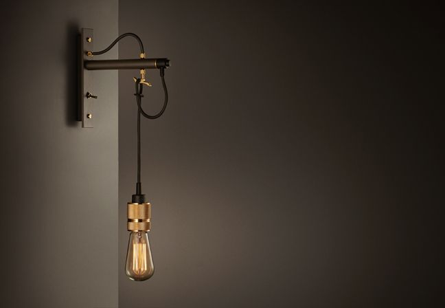 Buster and Punch | Hooked | Wall hanging light in black and brass finish