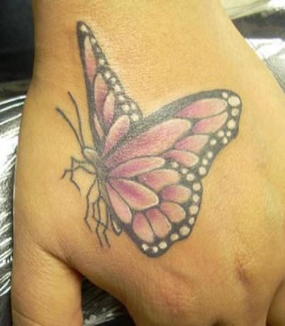 Pink Ribbon Tattoos | Pink Butterfly Tattoo On Hand