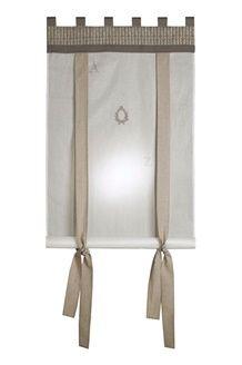 Rideau enrouleur Abécédaire<br> 80 x 160 cm - Blanc et taupe