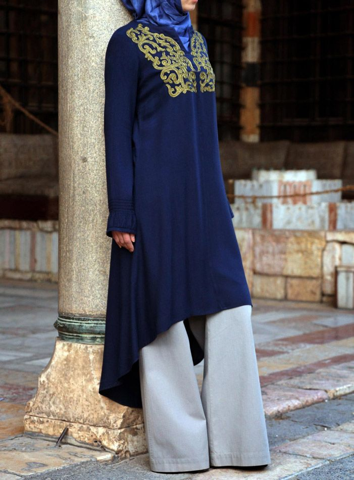 Fit for a queen- love the combo of the embroidery and asymmetrical hem | Taj Embroidered Tunic