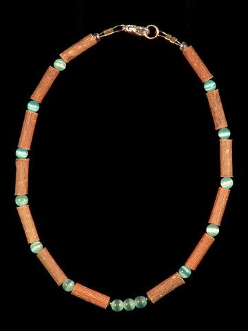 Teething Hazelwood Necklace with Aqua Cat Eye beads