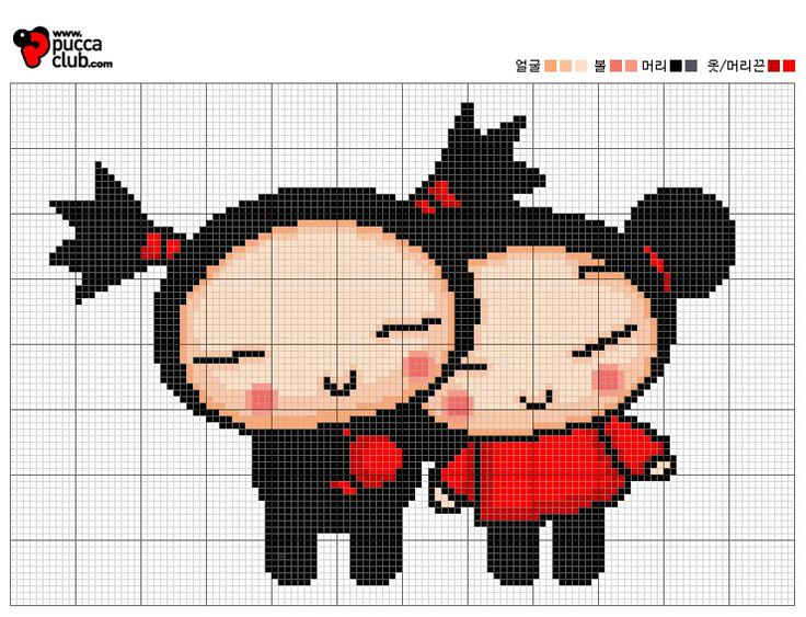 Pucca cross stitch (doces pontos) (more following the link)