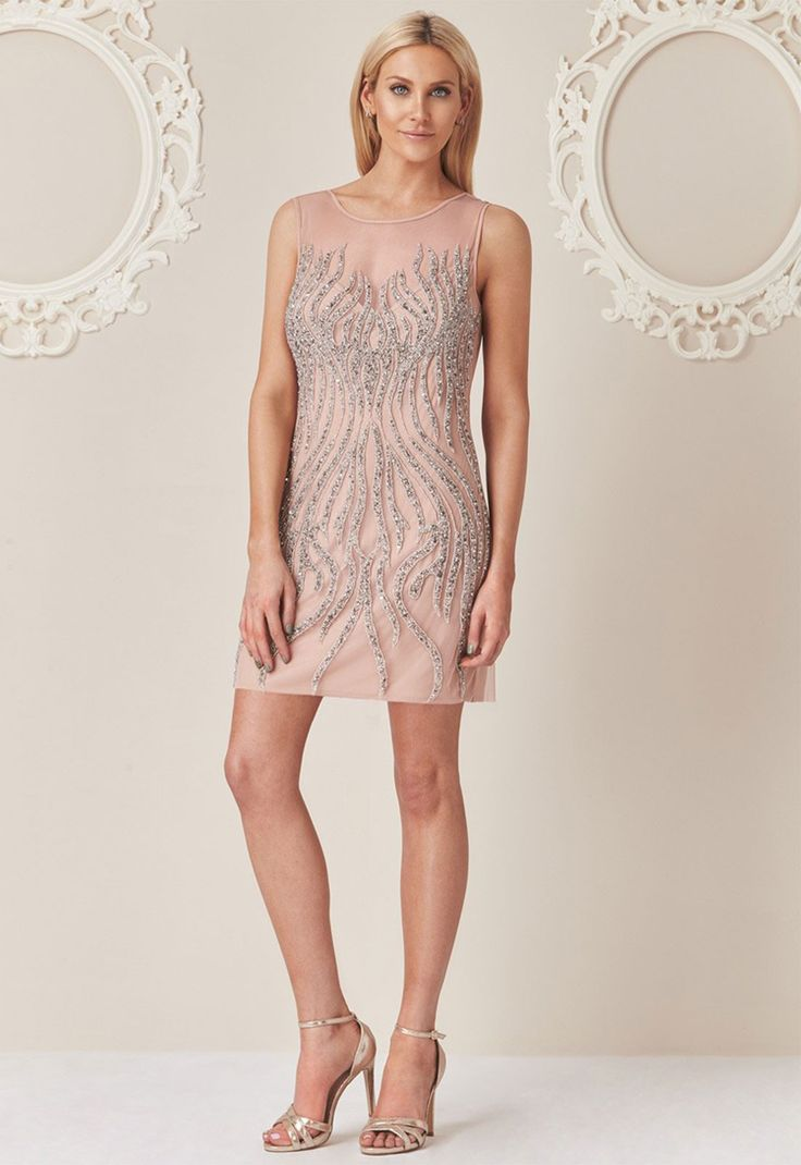 Stephanie Pratt Embellished Mini Dress in Nude - Flapper Dresses - Trends