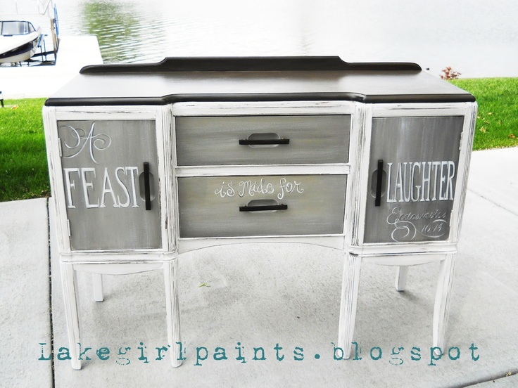 Lake Girl Paints: A Feast is made for Laughter - BuffetSprays Painting, Painting Sideboard, Painting Buffets, Painting Choice, Painting Furniture, Furniture Redo, Lakes Girls, Girls Painting Grey, Distressed Painting Lakes