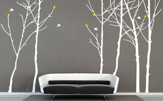 Large tree wall decals Tree birds wall sticker Bedroom tree wall sticker White tree wall murals Forest wall decal Giant tree wall stencil-24