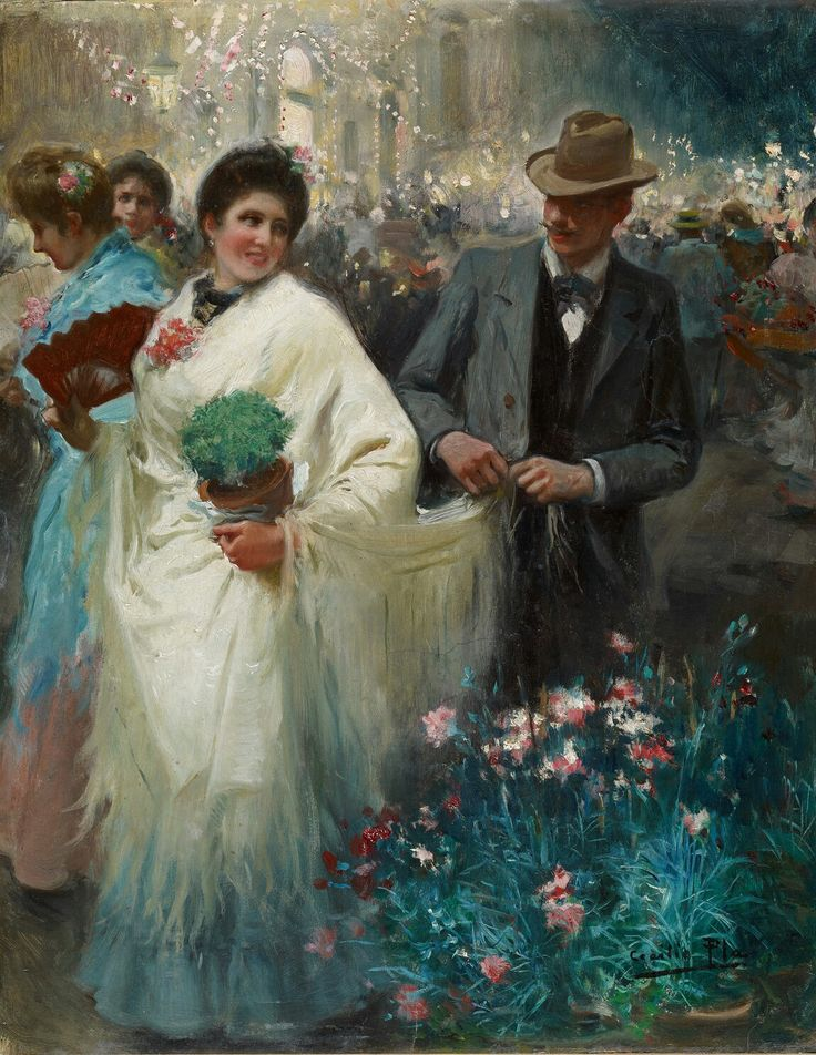 'The Verbena' , 1934 Painting by Cicilio Pla,  Spanish,  1860 - 1934  Verbena : InSpanish-speaking cultures, aVerbenais anagricultural show with dance party & feast.   Carmen Thyssen Museum,  Melanga, Spain