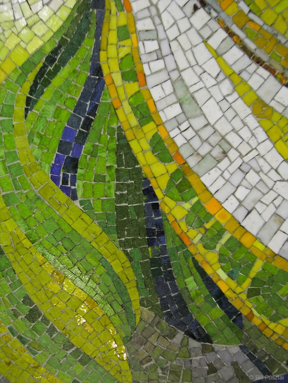 Botanical mosaics, Dupont Station, Toronto, Ontario, Canada. James Sutherland designed the mosaics, entitled _Spadina Summer Under All Seasons_.