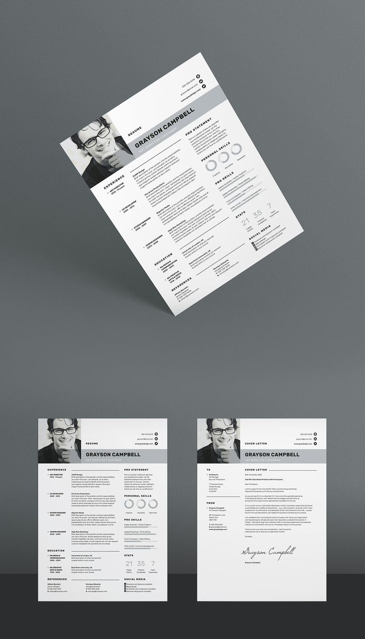 Resume / CV Template With FREE Matching Cover letter. A clean, professional design in an easy to edit format. MS Word / Photoshop / Indesign / Instant download / Quick tip PDF included.