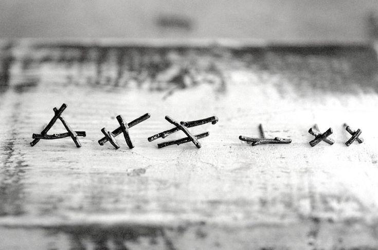 Norse Code earrings, sterling silver twig studs: set of 6 - RedSofa jewelry - sterling silver twig studs  dark oxidized patina - by Joanna Szkiela