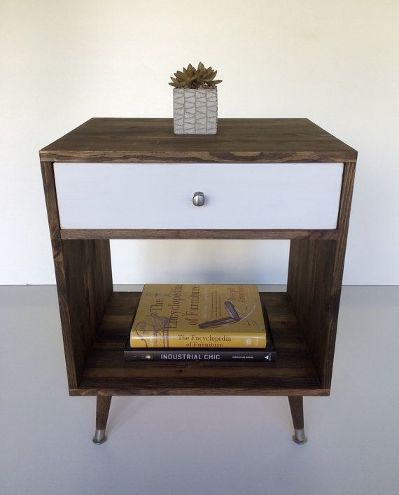 mid century inspired dark walnut nightstand with white drawer modern side table wood end
