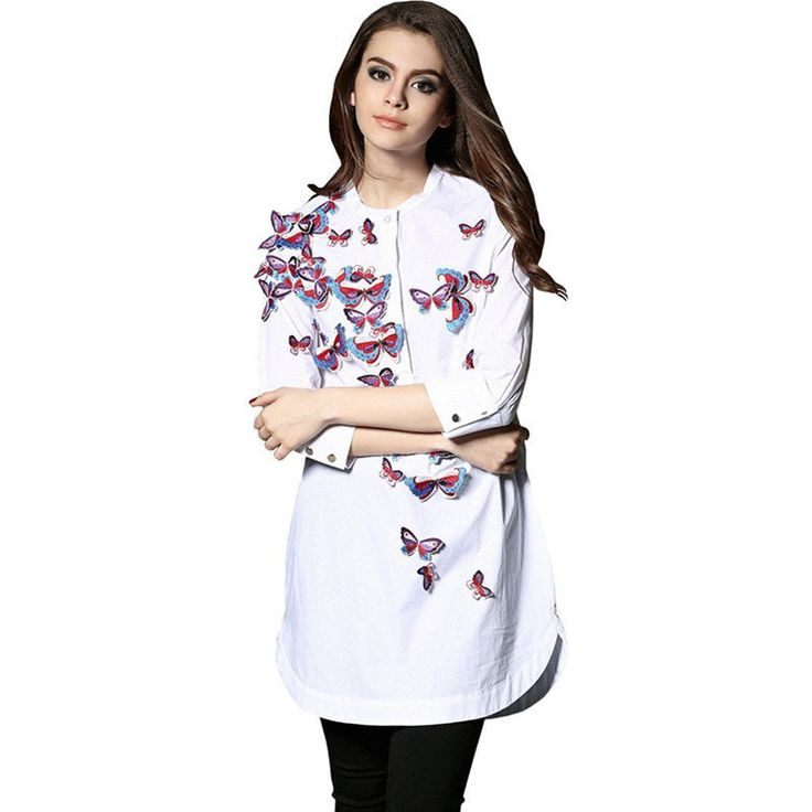 Women Embroidery Butterfly Blouse | Unique Design Long Blouse Asymmetric
