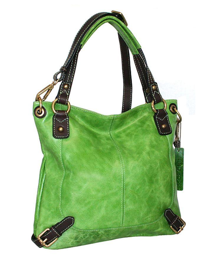 Nino Bossi Handbags Apple Green Textured Torino Leather Tote by Nino Bossi Handbags #zulily #zulilyfinds