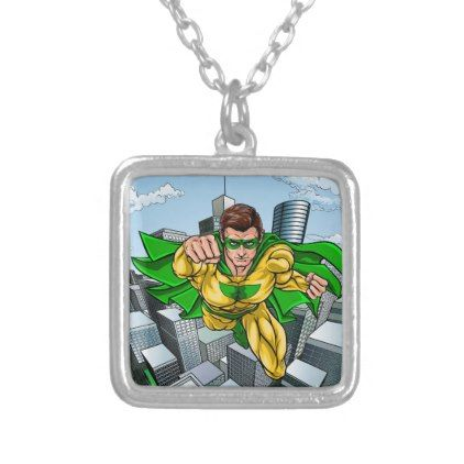 Comic Book Flying Superhero City Silver Plated Necklace - jewelry jewellery unique special diy gift present