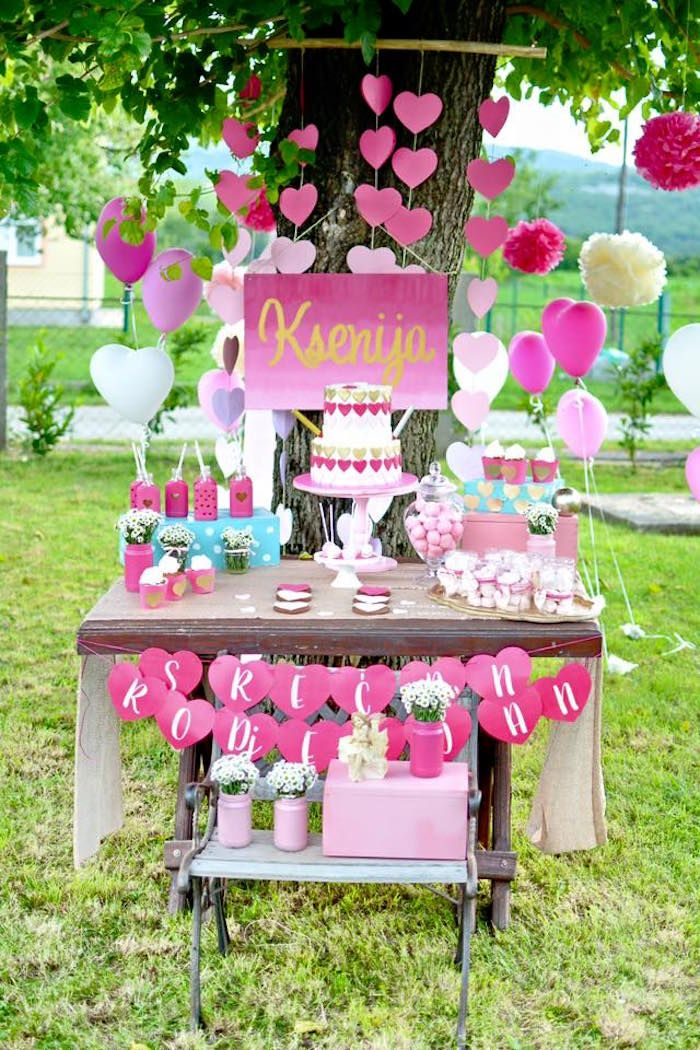 LOVE Pink Ombre + Gold Birthday Party (kara's party ideas)