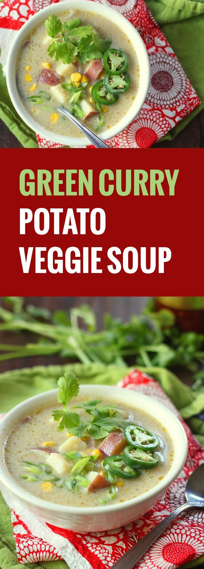 This rich and creamy green curry potato soup cooks up in fifteen minutes flat! Just throw a bunch of stuff in a pot and simmer.