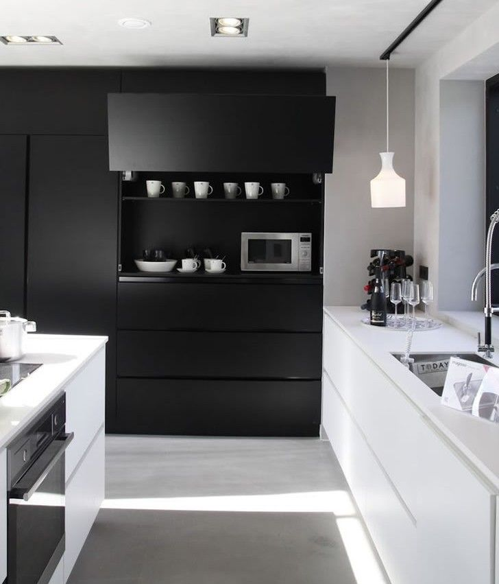 526 best interiores cocinas images on pinterest for Cocinas en blanco y negro