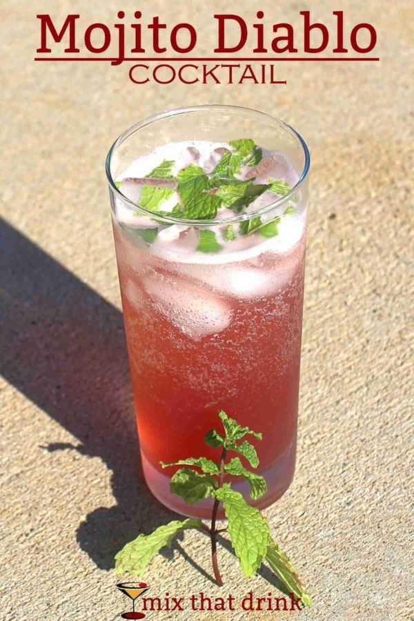 The Mojito Diablo mixes tequila with creme de cassis, mint, lime, brown sugar and 7-Up. The resulting taste is a mint-lime-berry fusion with an underlying richness from the brown sugar.