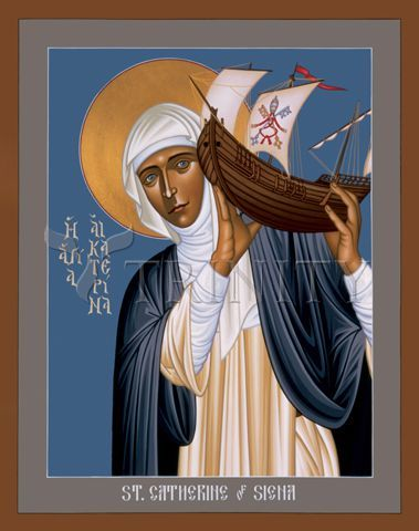 "St. Catherine of Siena | Catholic Christian Religious Art - Icon by Br. Robert Lentz, OFM - From your Trinity Stores crew, ""Here's to Dominican St. Catherine!"""