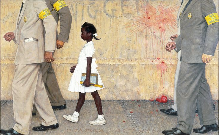 First Black Girl admitted into a White School: School, Norman Rockwell, Rubybridges, Ruby Bridges, Art, Paintings