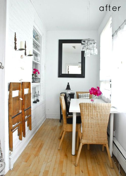 Tiny dining room that packs a punch with some really clever use of space. (And a fantastic #diy chandelier!) #diningroom #beforeafter #decor