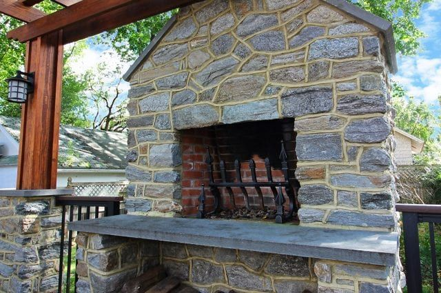 Trex Deck With Stone Wood Burning Fireplace Wood Burning Fireplace Trex Deck Fireplace