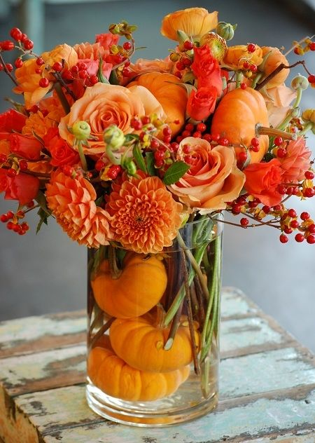 beautiful fall arrangement with pumpkins, dahlias, roses & berries.  Dallas Florist: Cebolla Fine Flowers Store