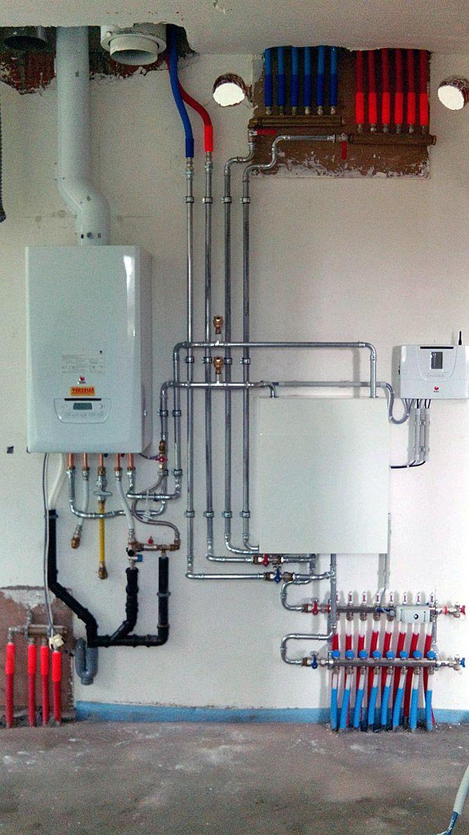 cv met 2 circuits vloerverwarming en 1 circuit gewone verwarming met een draadloze bediening van