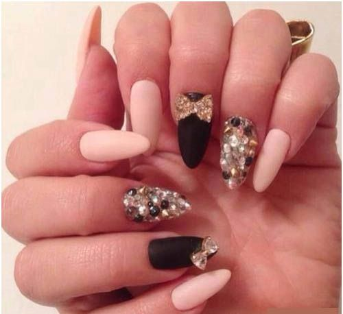Matte Nail Polish with Rhine Stone Bows and Spikes  | See more nail designs at http://www.nailsss.com/acrylic-nails-ideas/2/