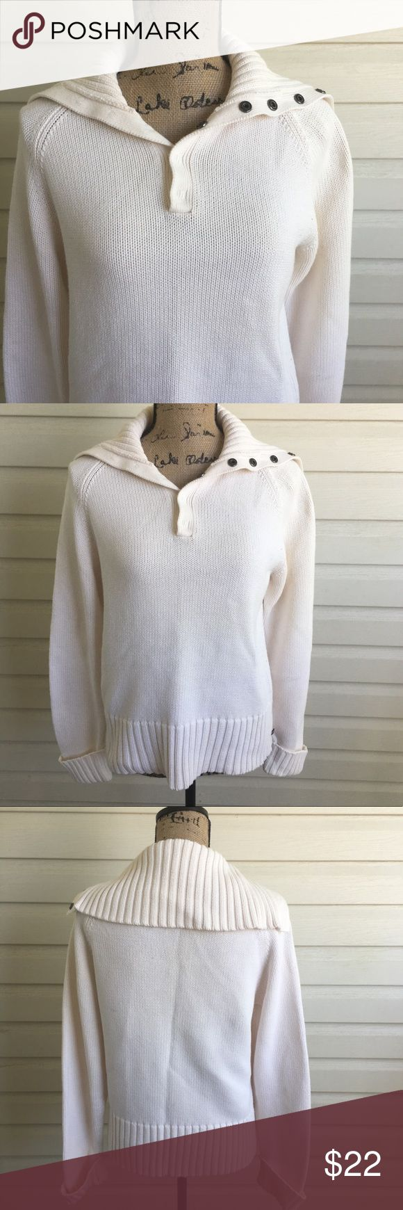 Polo Jeans White Wide Colared Sweater In excellent condition! Open button wide collar. Size XL. I'm a speedy shipper and we have a smoke free home! Measurements upon request. I'm always open to reasonable offers. polo jeans co. by Ralph Lauren Sweaters