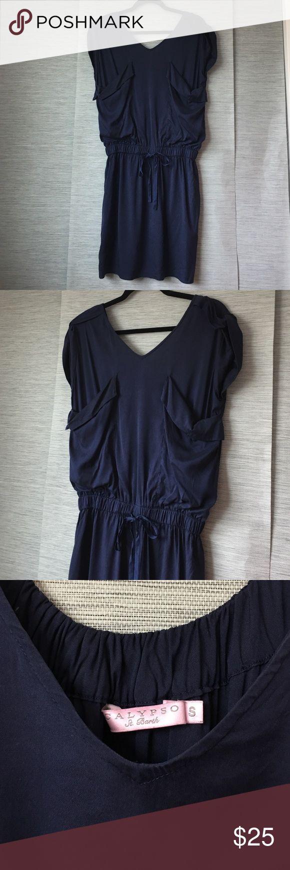 CALYPSO SAINT BARTHS COTTON SILK DRESS Cotton silk blend navy jumper dress size small. Can fit medium Calypso St. Barth Dresses