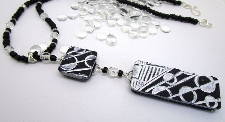Black and white beaded necklace, Choker necklace, Aztec pendant, Tribal pendant, Geometric clay pendant, Ethnic necklace,  Gift for her by JustJannetta on Etsy