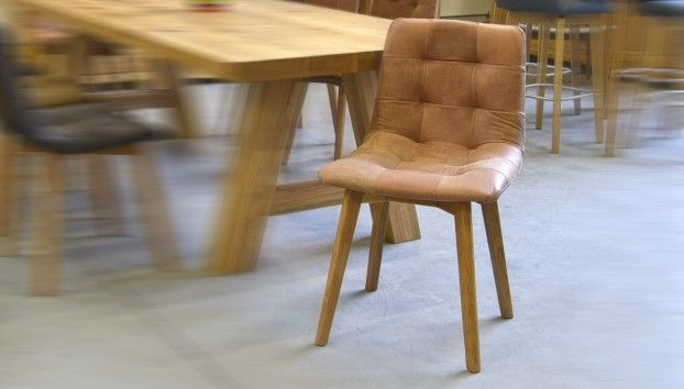 Geniue leather oak chair
